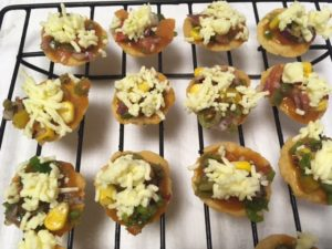 Papdi Pizza : Pizza on dough wafers / canapes