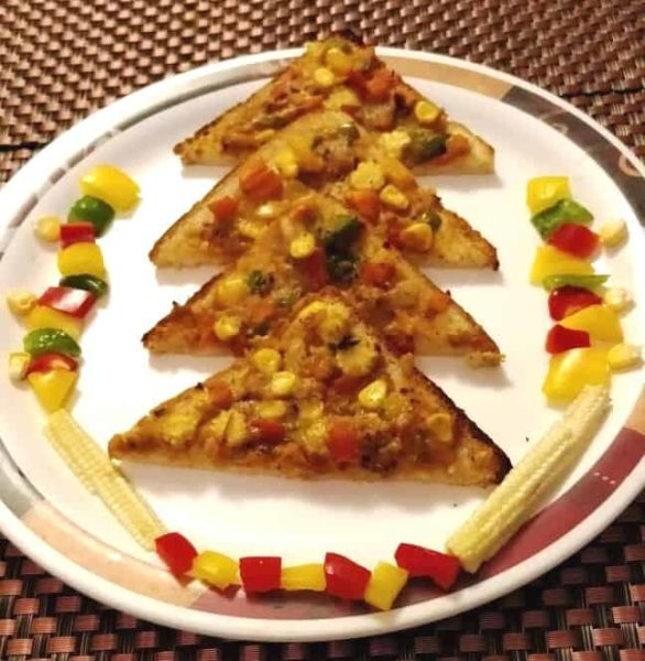 Bread Pizza Without Cheese