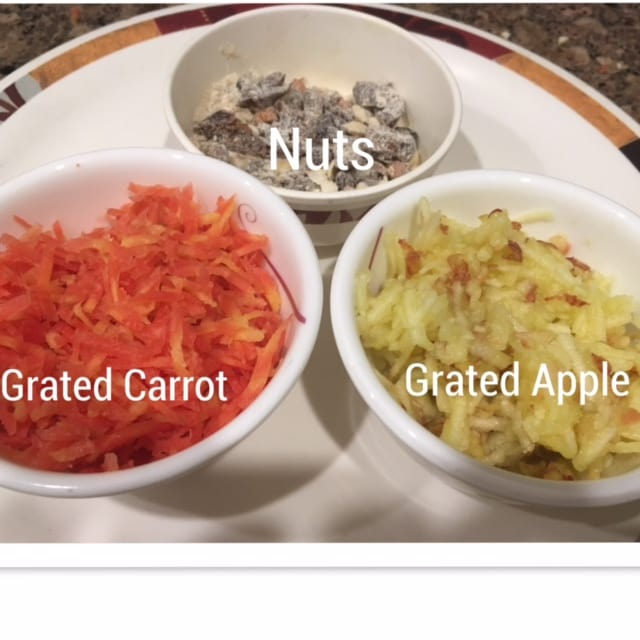 Grate apple, carrot and chop nuts
