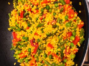 Mix rinsed moong dal in it