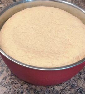 Pizza dough after first rise