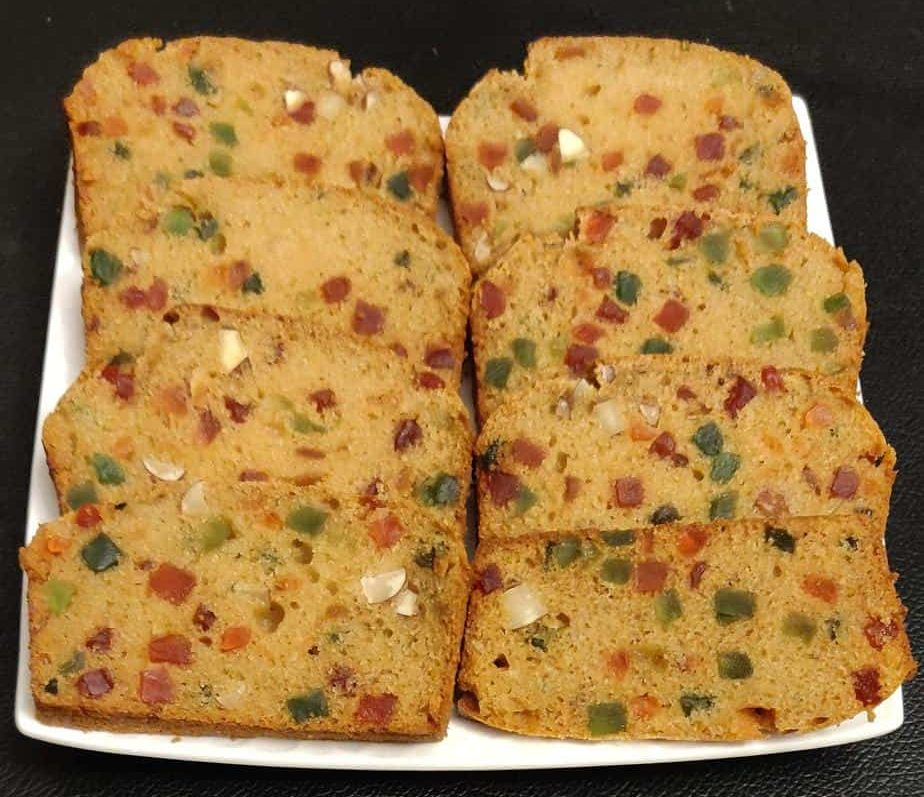 Eggless Fruit Cake with homemade condensed milk