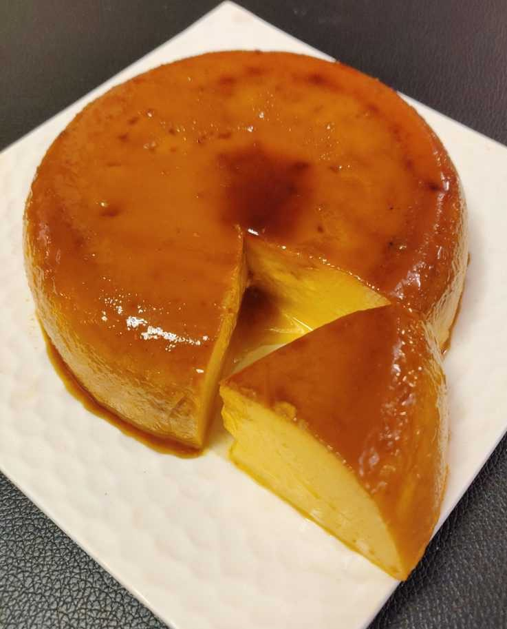 Slice of eggless caramel custard