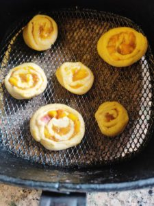 Peach Cinnamon Rolls in Air fryer